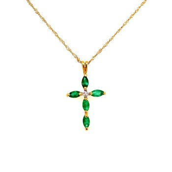Emerald & Diamond Cross Pendant in Yellow Gold