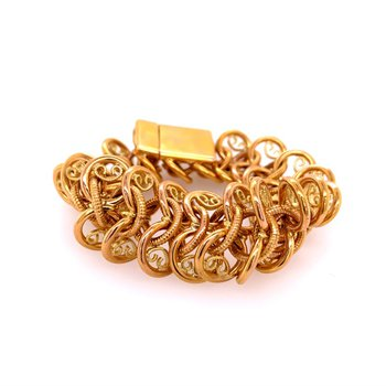 Flexible Hollow Curving Filigree Link Bracelet in 18k Gold