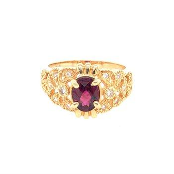 Garnet and Diamond Ring in Yellow Gold