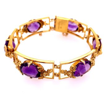 "Vintage 6"" 1950s Amethyst Bracelet in Yellow Gold"