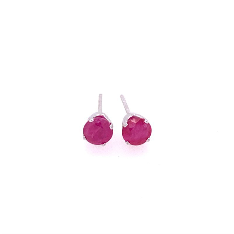 Royal Jewelry Ruby Stud Earrings in White Gold