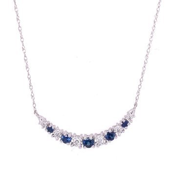 Curved Sapphire and Diamond Necklace
