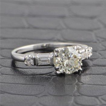 Vintage 1950s 1.20 ct. Round Brilliant Cut Diamond Engagement Ring in Platinum