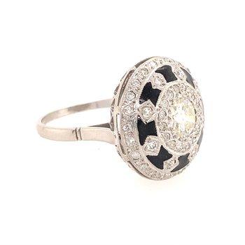 Old European Cut Diamond and Black Enamel Ring in Platinum