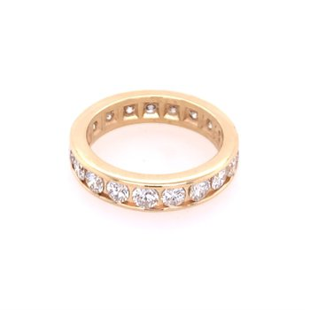1.71 CTW Diamond Eternity Band in Yellow Gold Size 5.25