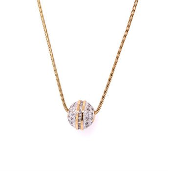 Two Tone Diamond Ball Necklace
