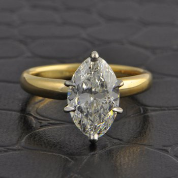 2.27 Carat Marquise Cut Diamond Solitaire in Yellow Gold