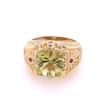 Lemon Citrine and Ruby Ring in Yellow GOld
