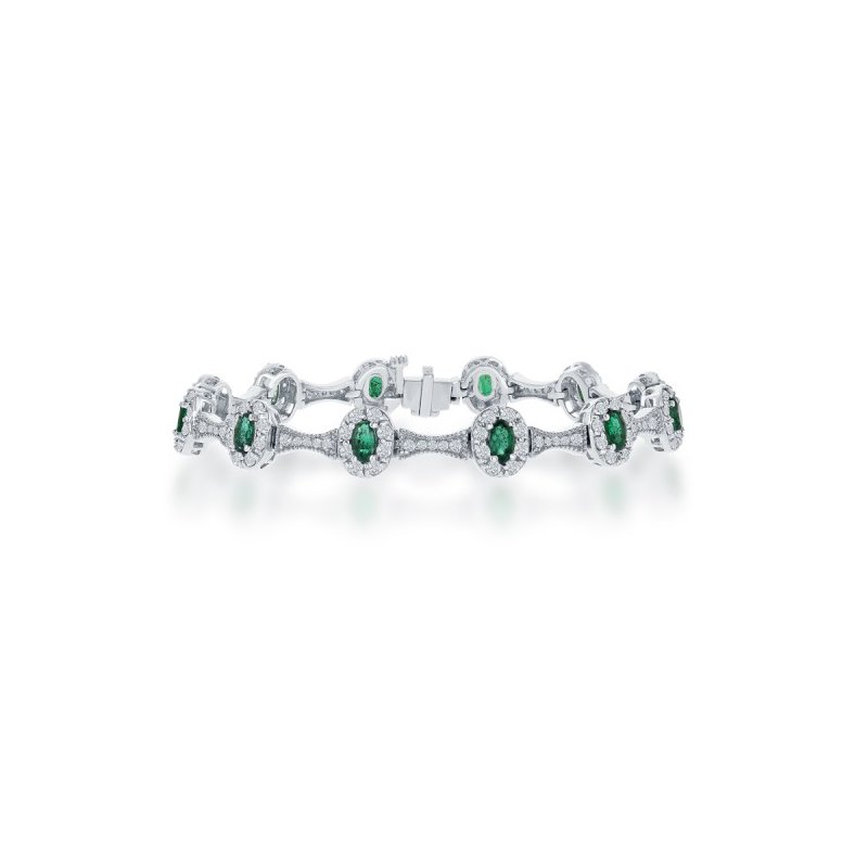 Jewels By Jacob Emerald and Diamond Bracelet in White Gold