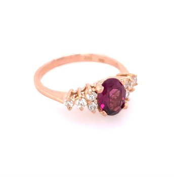 Rhodolite Garnet and Diamond Ring in Rose Gold