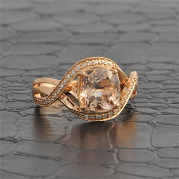 Criss Cross Morganite and Diamond Ring in Rose Gold