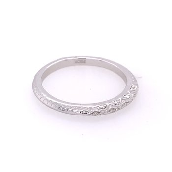 Beaded Diamond Band in White Gold