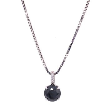 Black Diamond Pendant in White Gold