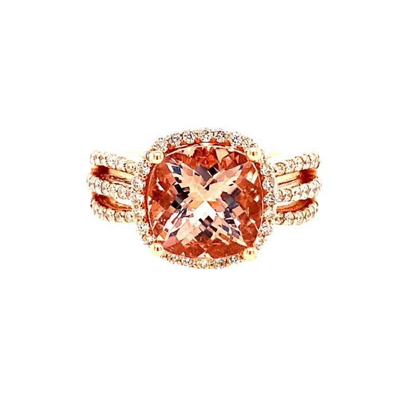 Ryan Gems Morganite and Diamond Ring in Rose Gold