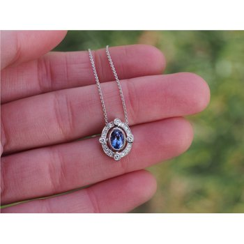 Vintage Style Tanzanite and Diamond Pendant in White Gold