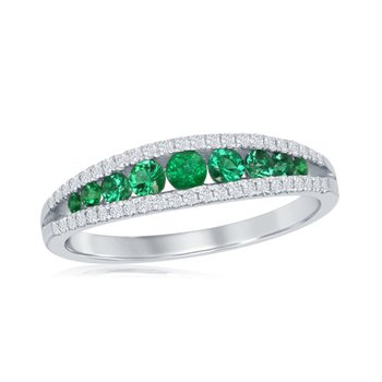 Emerald and Diamond Band in 18k White Gold