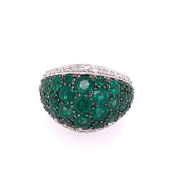 Domed Emerald Cluster Ring in White Gold