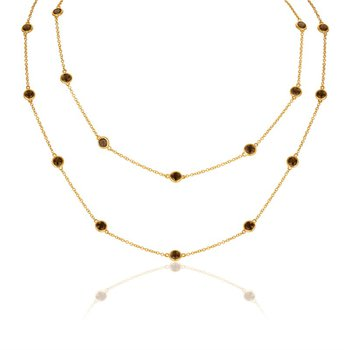 Smoky Quartz Station Necklace in Yellow Gold