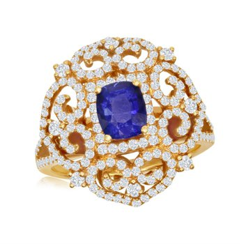 Ornate Sapphire and Diamond Ring in Yellow Gold