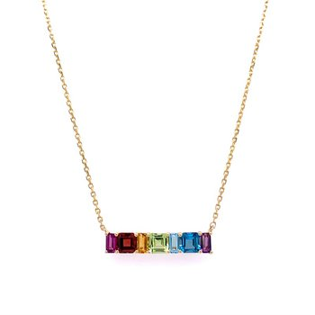 Multi Gem Rainbow Bar Necklace