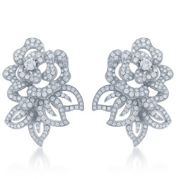 Floral Diamond Earrings in White Gold