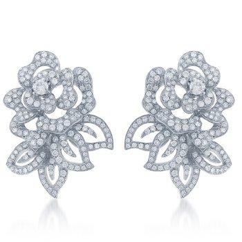 Floral Diamond Earrings in White Gold