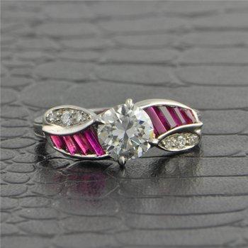 Platinum 1.13 ct. G-VS1 Diamond & Ruby Engagment Ring