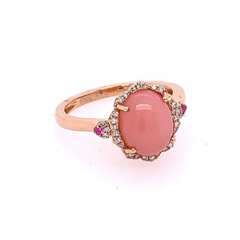Pink Opal and Diamond Ring in Rose Gold