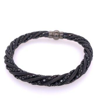 Sterling Silver Twist Black Bracelet.
