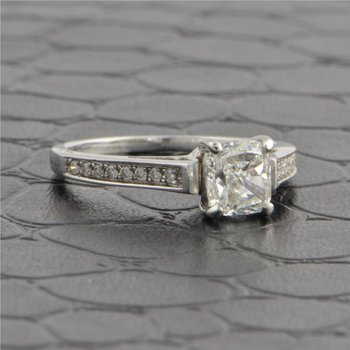 GIA 1.30 Carat F-VS1 Cushion Cut Diamond Engagement Ring