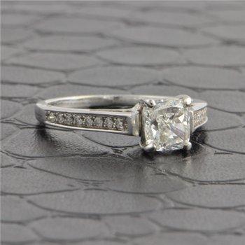 GIA 1.30 Carat F-VS1 Cushion Cut Diamond Engagement Ring