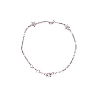 Moon & Star Diamond Bracelet in White Gold