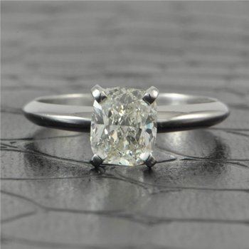 GIA 1.03 Carat Cushion Cut Diamond in White Gold