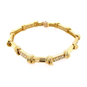 "7.25"" Rope Style Diamond Bracelet in 18k Yellow Gold"