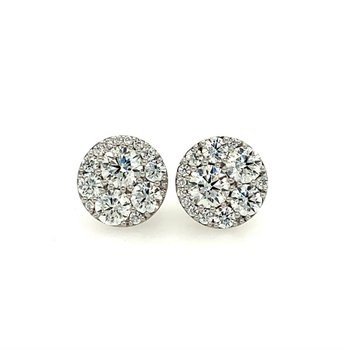 Round Brilliant Cut Diamond Stud Earrings in 18k White Gold