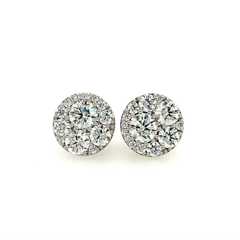 Hearts On Fire Round Brilliant Cut Diamond Stud Earrings in 18k White Gold