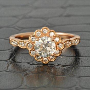 0.83 Carat Old European Cut Diamond in Rose Gold