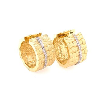 Basketweave Style Gold Hoops with Diamonds
