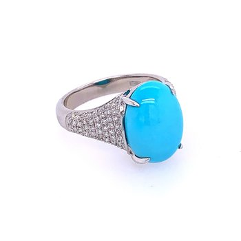 Turquoise and Diamond Ring in White Gold