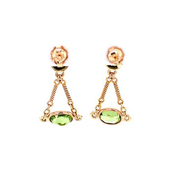 Peridot Earrings in Yellow Gold