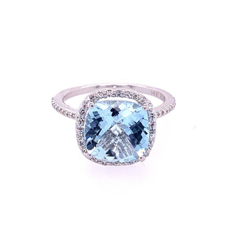 Effy Aquamarine and Diamond Ring in White Gold