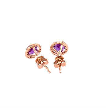 Amethyst and Diamond Studs in Rose Gold