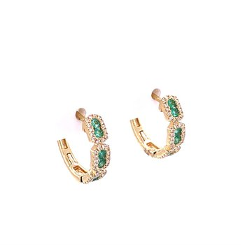 Emerald and Diamond Hoop Earrings in Yellow Gold