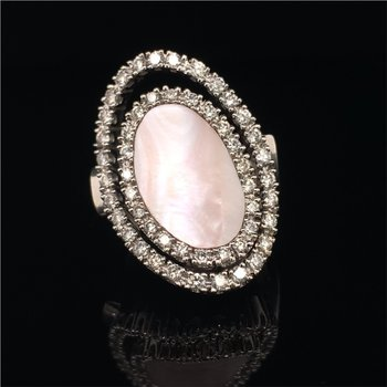 Pink Mother of Pearl and Diamond Ring in White Gold