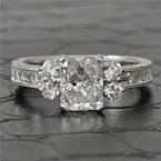 Perry's Estate Collection 1.56 Carat SI2-E Radiant Cut Diamond Engagement Ring in White Gold