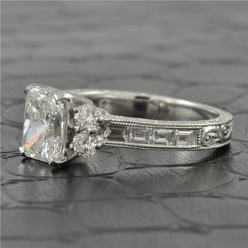 1.56 Carat SI2-E Radiant Cut Diamond Engagement Ring in White Gold