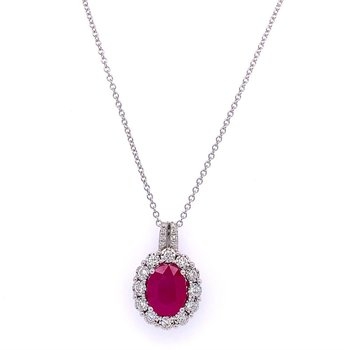 Ruby and Diamond Halo Pendant in White Gold