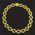 Perry's Estate Collection Doris Panos Brushed 18k Yellow Gold Diamond Rope Link Necklace