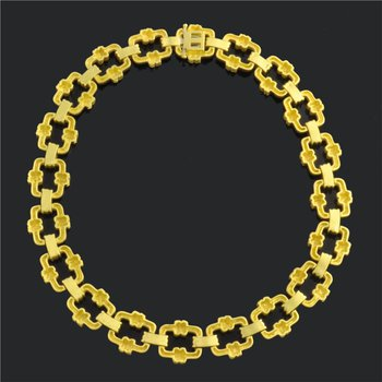Doris Panos Brushed 18k Yellow Gold Diamond Rope Link Necklace