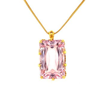 Morganite Pendant Necklace in Yellow Gold